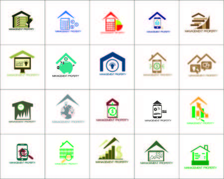 vector illustration logo of property management building with windmill for ecological concept you can use for logo business, website, community and etc. 向量圖像