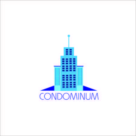 condominium: A Vector Creative Logo Condominium Modern office building in cartoon flat style. Vector illustration with big city office building logo , you can use for Business logo etc. Illustration