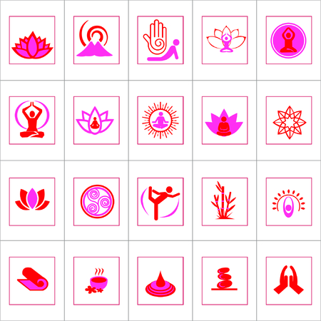 Vector Creative Illustration Yoga silhouettes and icon set , red color