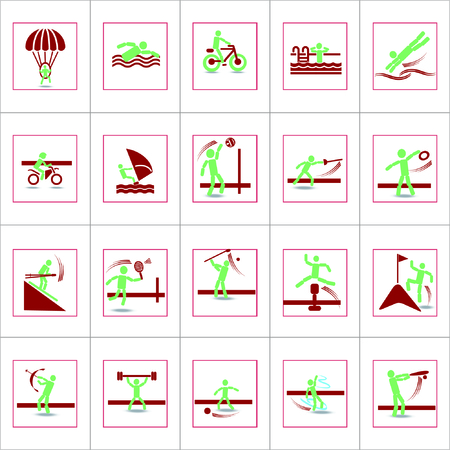 Vector Creative Illustration Set of sport pivot people icons in flat design.