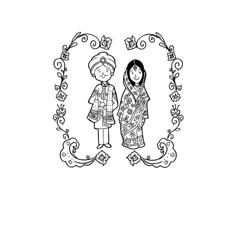 Vector Creative Illustration Coloring book with India Wedding couple - vector illustration. Illustration