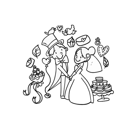Vector Creative Illustration Coloring Book With Couple Wedding ...