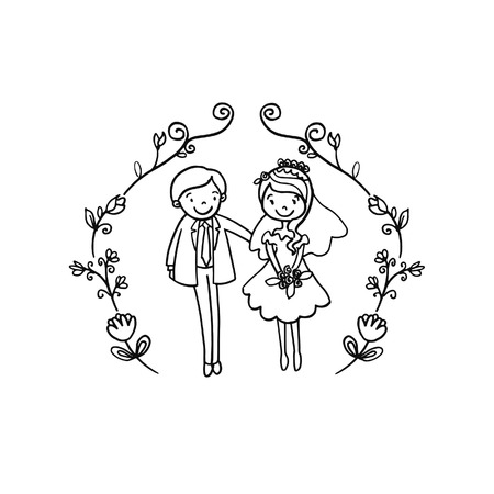 music: Vector Creative Illustration Coloring book with Couple Wedding couple - vector illustration.