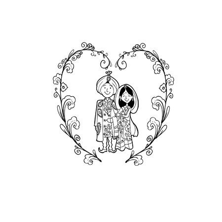 Vector Creative Illustration Coloring book with India Wedding couple - vector illustration. Illustration