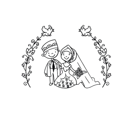 A Vector Creative Illustration Coloring book with Moslem Wedding couple - vector illustration. Illustration