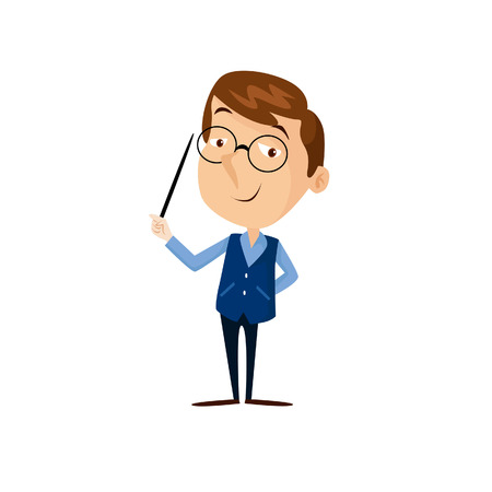 A Vector Creative Illustration Teacher, Flat design people characters. student in classroom at school, college or university. Flat design people characters. Ilustracja
