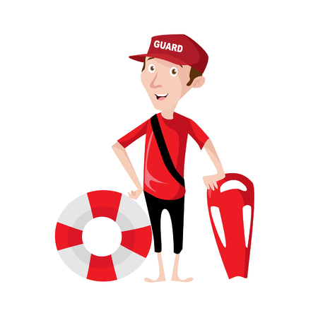 Vector Illustration modern flat character design on young male lifeguard standing full length holding rescue buoy with lifeguard