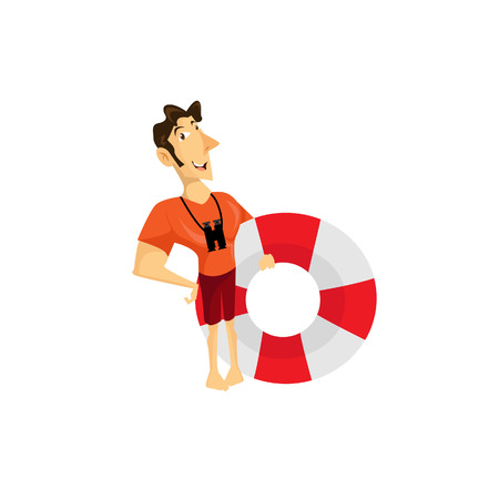coast guard: Vector Illustration modern flat character design on young male lifeguard standing full length holding rescue buoy with lifeguard