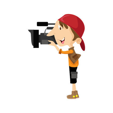 Vector illustration of cameraman with a video camera , Flat style. Male video operator.