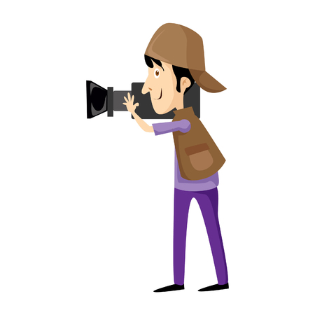 A Vector illustration of cameraman with a video camera , Flat style. Male video operator. Illustration