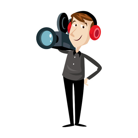 videographer: A Vector illustration of cameraman with a video camera , Flat style. Male video operator. Illustration