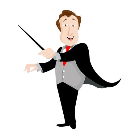 Un conducteur d'illustration de vecteur dirigeant la musique classique avec son bâton en bois. Illustration de vecteur de style plat isolée sur fond blanc.