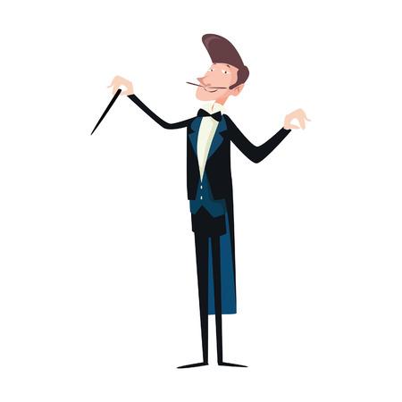 Un conducteur d'illustration de vecteur dirigeant la musique classique avec son bâton en bois. Illustration de vecteur de style plat isolée sur fond blanc. Vecteurs