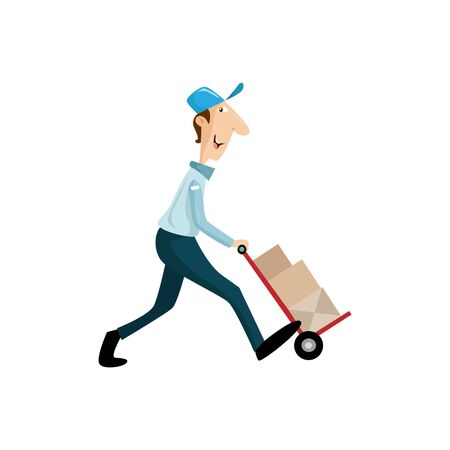A Vector Illustration Delivery man holding boxes and documents in different poses. Illustration
