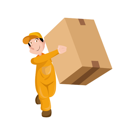 truck: Vector Illustration Delivery man holding boxes and documents in different poses.