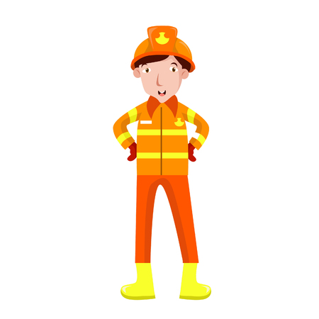 Vector Illustration Rescue firefighter in safe helmet and uniform pop art retro vector. The professional rescuer