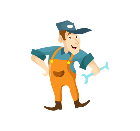 Vector Creative Illustration A carpenter handyman cartoon character holding a wranch and giving smile Illustration