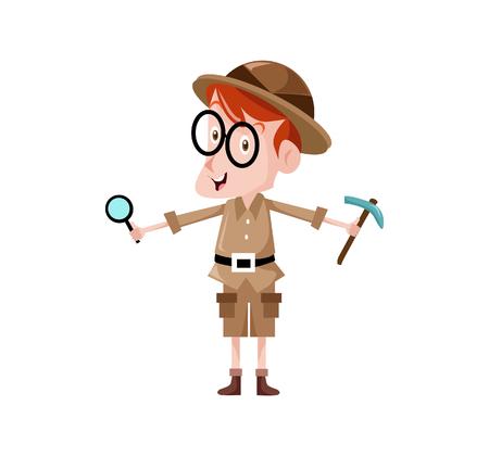 Vector Creatieve illustratie Teken archeoloog schattig, u kunt gebruiken voor de website pictogram, mobiele UI of zakelijke karakter.