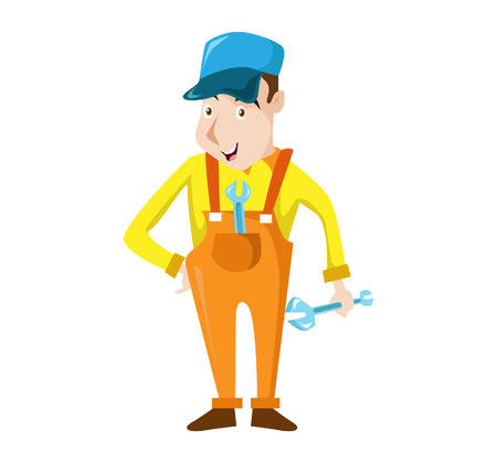 Vector Creative Illustration A carpenter handyman cartoon character holding a wranch and giving smile Ilustrace