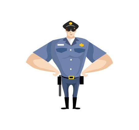 Una ilustración vectorial Simple de dibujos animados de una figura de policía figura fresca.