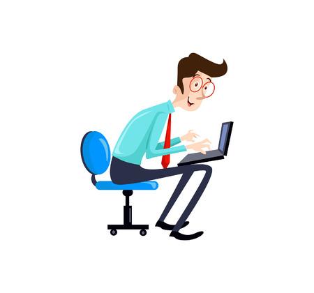 css: A Vector Illustration programmer man character coding. Vector flat cartoon illustration.