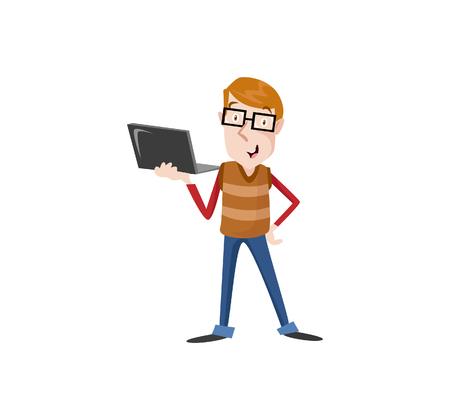 A Vector Illustration programmer man character coding. Vector flat cartoon illustration.