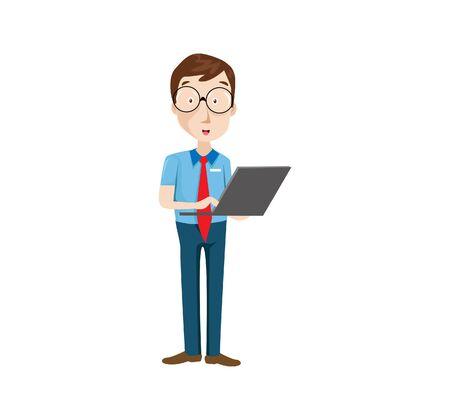 Vector Illustration programmer man character coding. Vector flat cartoon illustration