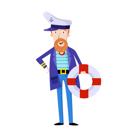 Vector Illustration Sailor Man Character with white hat. Illustration