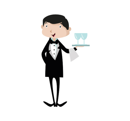 Vector Illustration Waiter character holding a serving platter or silver cloche. Çizim