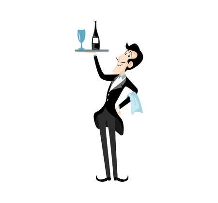 Vector Illustration Waiter character holding a serving platter or silver cloche. Illustration
