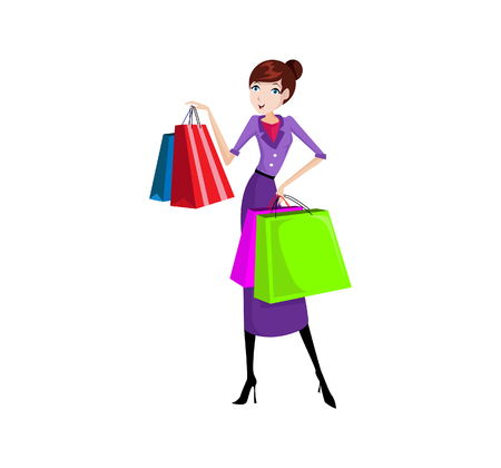 you figure: Vector Illustration Happy Shopping Women you can use for website figure, mobile UI or Business illustration. Illustration
