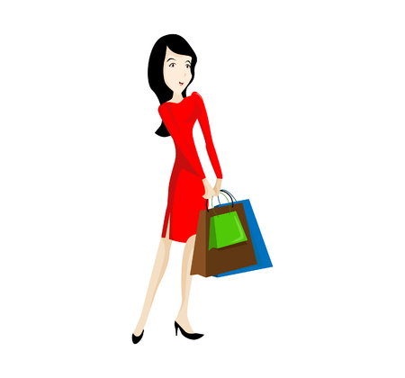 shoppingbag: Vector Illustration Happy Shopping Women you can use for website figure, mobile UI or Business illustration. Illustration