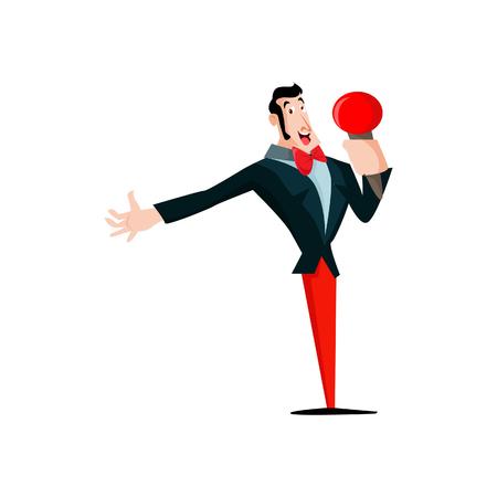 famous actor: Vector illustration of a singer standup singing Illustration