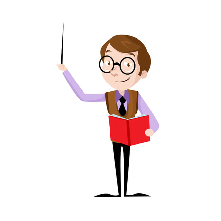 Vector Creative Illustration Teacher, Flat design people characters. student in classroom at school, college or university. Flat design people characters. Vettoriali