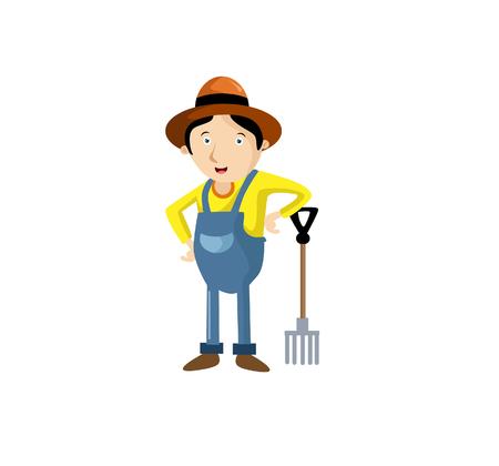 Vector Illustration farmers using agricultural tools. Farmer with shovel, rake. etc Illustration