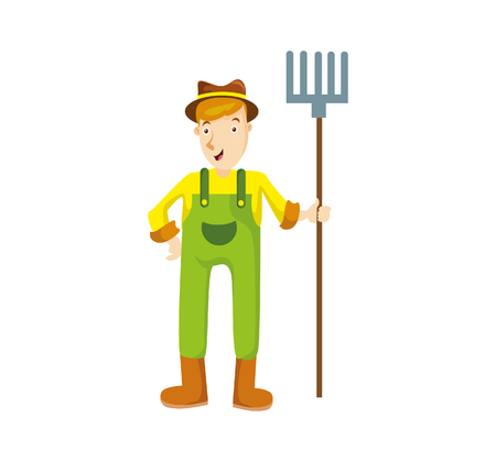 Vector Illustration farmers using agricultural tools. Farmer with shovel, rake. etc Illustration