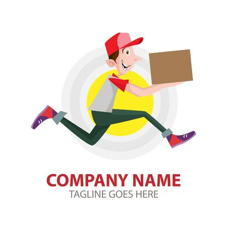 Vector Illustration Delivery man holding boxes and documents in different poses.