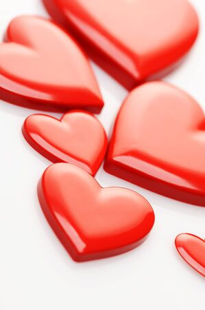 red hearts on white background Stock Photo - 11745148