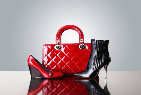 red shoes: shoes and handbag, fashion photo