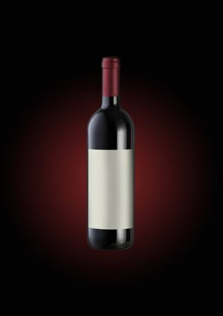 red Wine bottle, label copy space photo