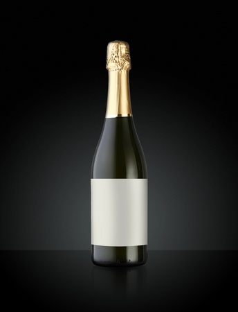 gold capped: Sparkling White Wine Bottle, Champagne bottle