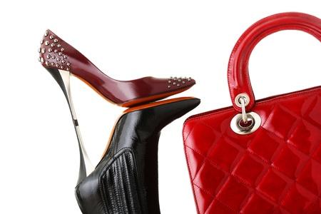 red bag: shoes and handbag, fashion photo