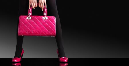 fashionable woman with a pink bag,fashion photo Фото со стока