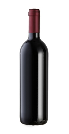 red wine: A bottle of red wine, isolated on white with clipping path.