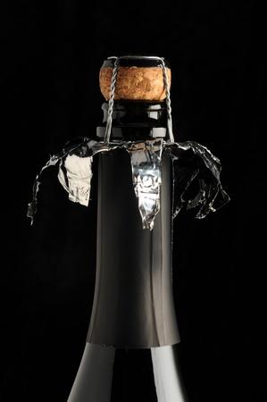 closed corks: sparkling wine cap on black background