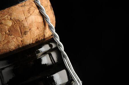 closed corks: sparkling wine bottle, close up Stock Photo