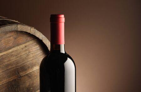wine barrel: red wine bottle and wodden barrel
