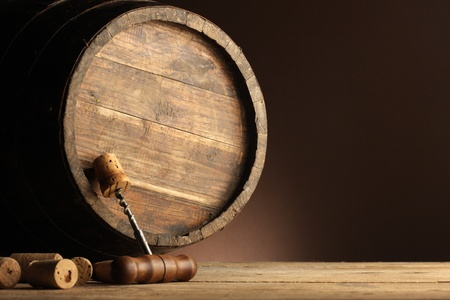 corkscrew and wooden barrel photo