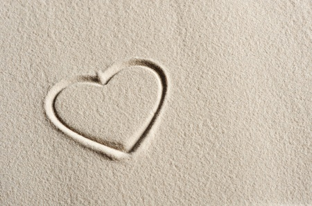 heart in sand: Beach background with hearts drawing