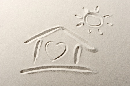 Beach background with home and heart drawing photo
